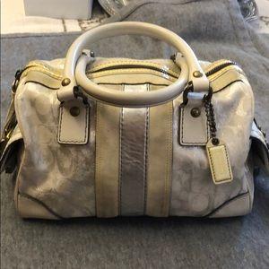 Coach white silver gray metallic signature purse